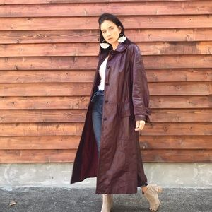 Vintage Red Brown Leather Trench Coat